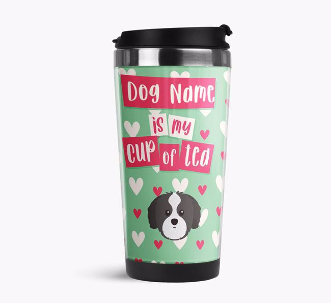 'Your Dog is my cup of tea' Travel Flask with Shih Tzu Icon