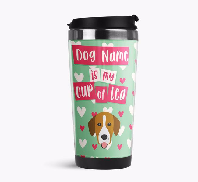 'Your Dog is my cup of tea' Travel Flask with Springador Icon