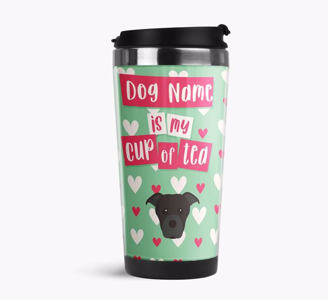 'Your Dog is my cup of tea' Travel Flask with Dog Icon