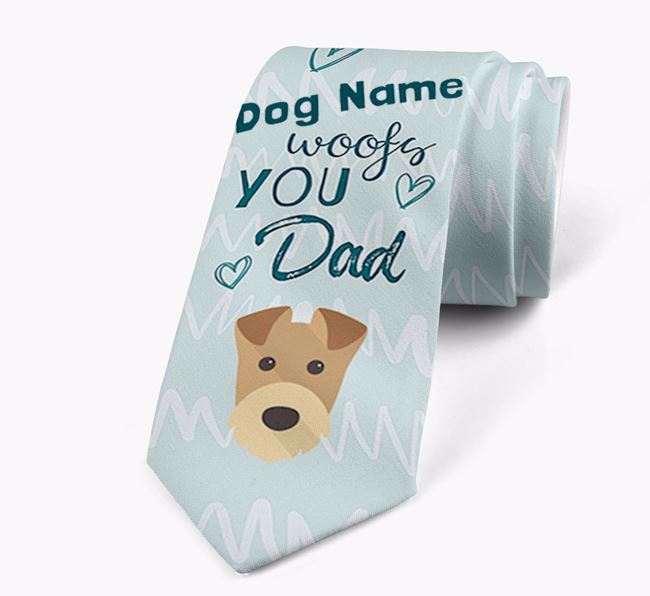 'Your Dog woofs you Dad' Neck Tie with Airedale Terrier Icon