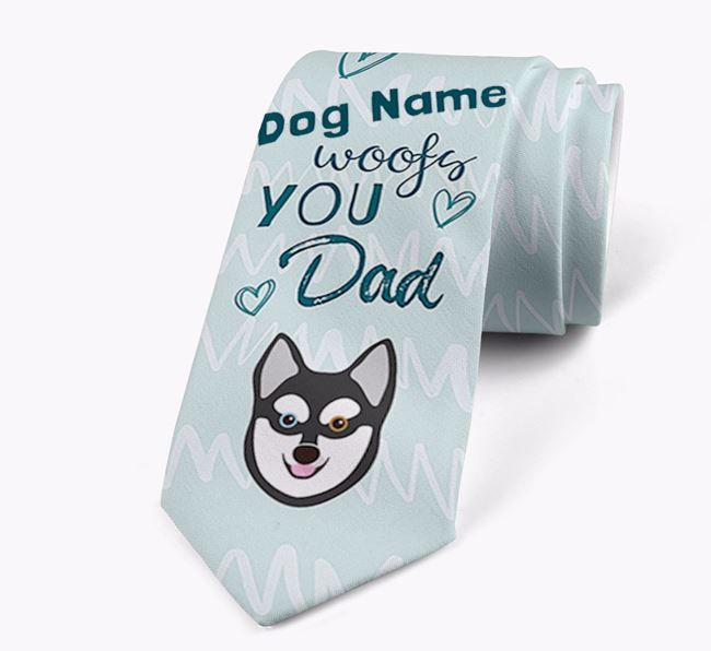 'Your Dog woofs you Dad' Neck Tie with Alaskan Klee Kai Icon