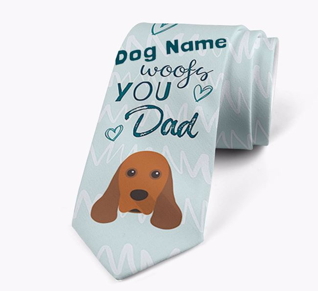 'Your Dog woofs you Dad' Neck Tie with American Cocker Spaniel Icon