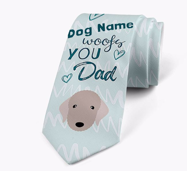 'Your Dog woofs you Dad' Neck Tie with Bedlington Terrier Icon
