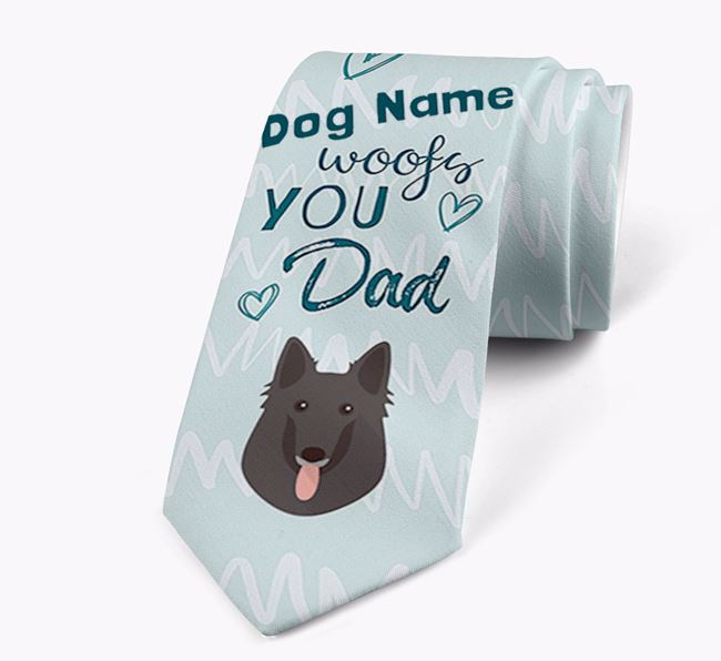 'Your Dog woofs you Dad' Neck Tie with Belgian Groenendael Icon