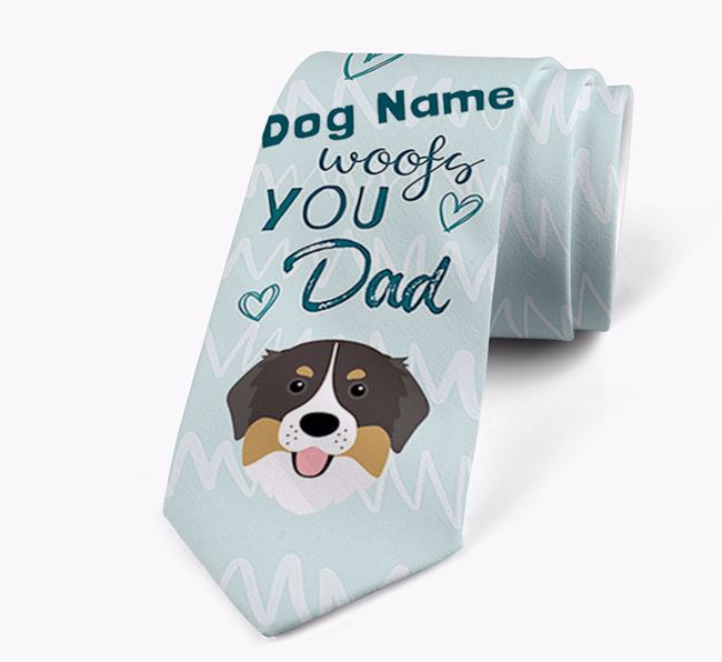 'Your Dog woofs you Dad' Neck Tie with Bernese Mountain Dog Icon