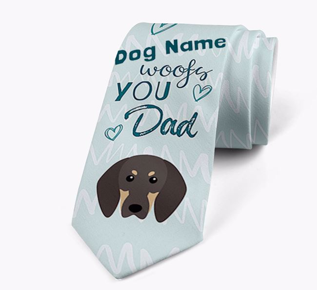 'Your Dog woofs you Dad' Neck Tie with Black and Tan Coonhound Icon