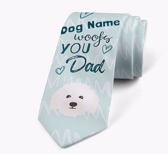 'Your Dog woofs you Dad' Neck Tie with Bolognese Icon
