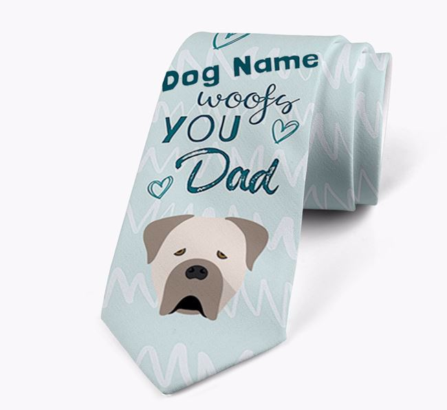 'Your Dog woofs you Dad' Neck Tie with Cane Corso Italiano Icon