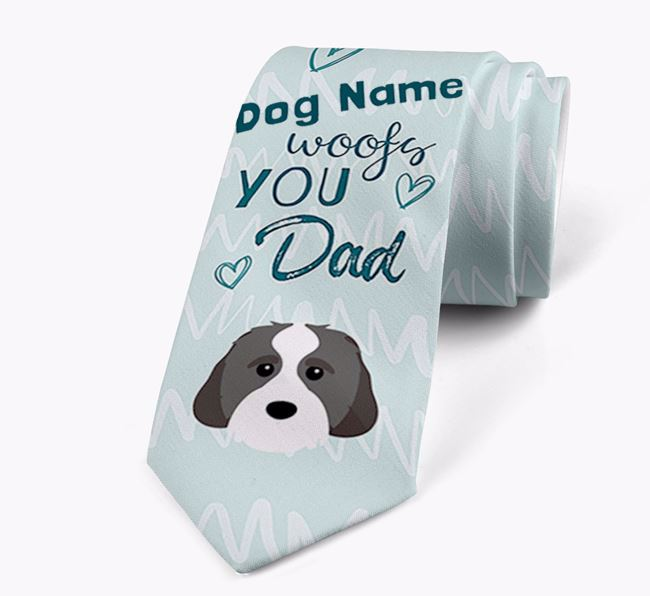 'Your Dog woofs you Dad' Neck Tie with Cavachon Icon