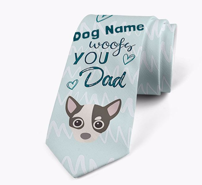 'Your Dog woofs you Dad' Neck Tie with Chihuahua Icon
