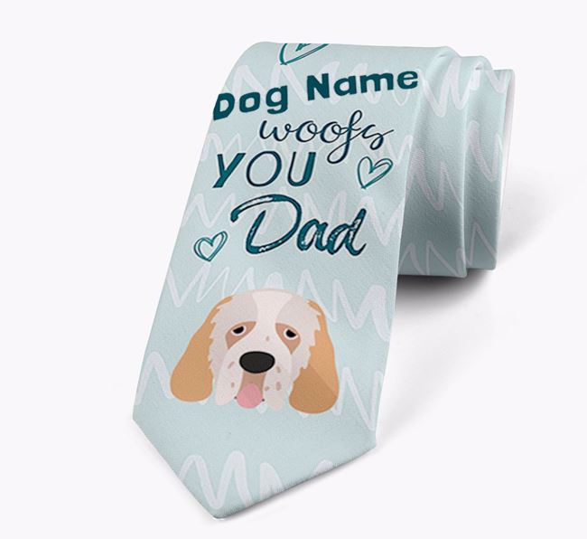 'Your Dog woofs you Dad' Neck Tie with Clumber Spaniel Icon