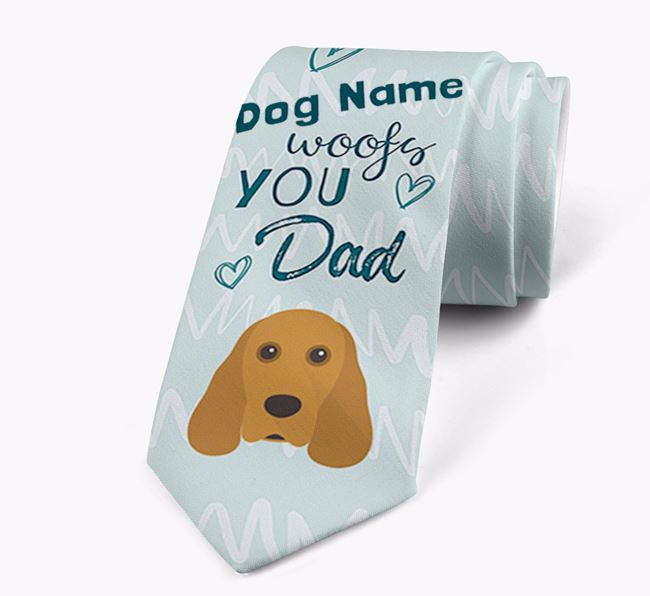 'Your Dog woofs you Dad' Neck Tie with Cocker Spaniel Icon