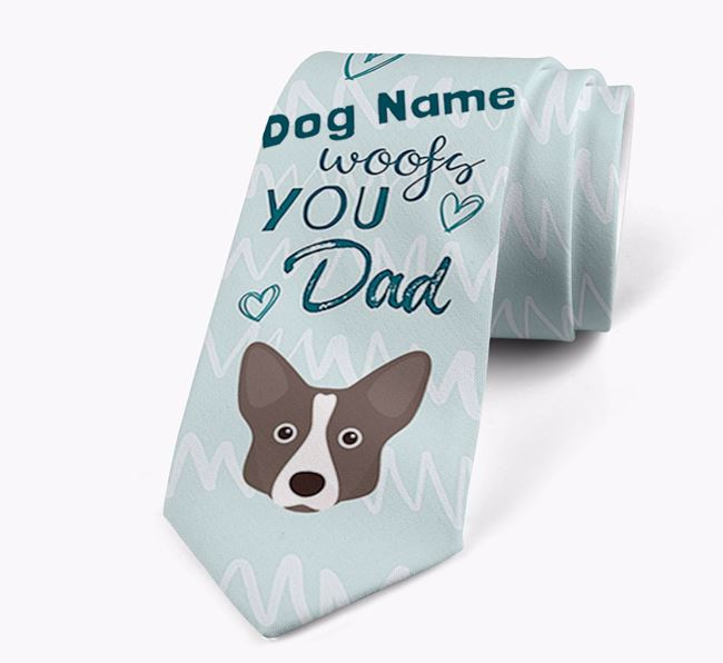 'Your Dog woofs you Dad' Neck Tie with Corgi Icon