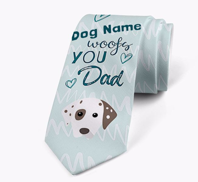 'Your Dog woofs you Dad' Neck Tie with Dalmatian Icon