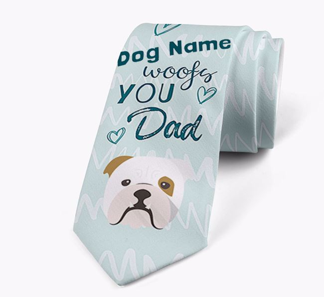 'Your Dog woofs you Dad' Neck Tie with English Bulldog Icon