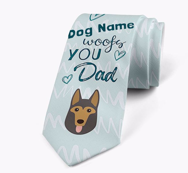 'Your Dog woofs you Dad' Neck Tie with German Shepherd Icon