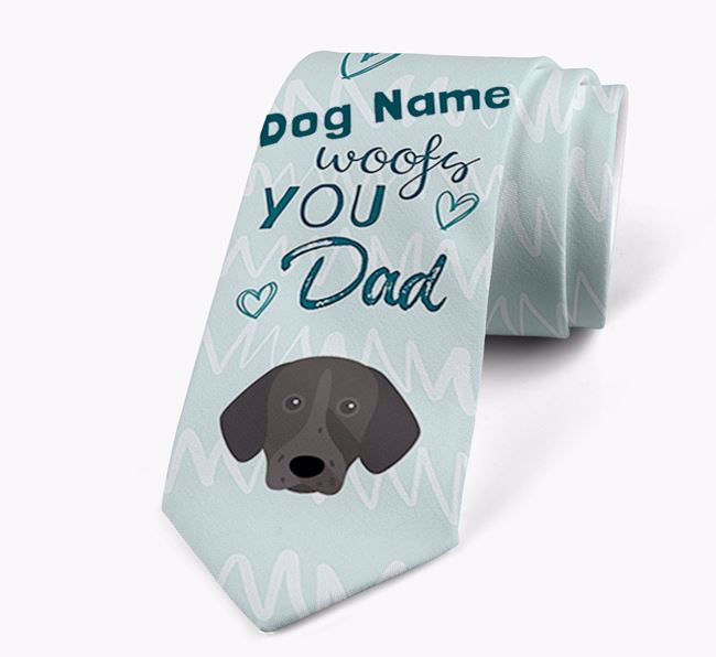 'Your Dog woofs you Dad' Neck Tie with German Shorthaired Pointer Icon