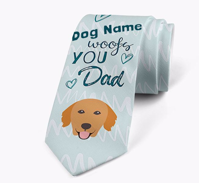 'Your Dog woofs you Dad' Neck Tie with Golden Retriever Icon