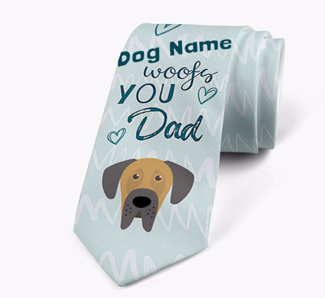 'Your Dog woofs you Dad' Neck Tie with Great Dane Icon