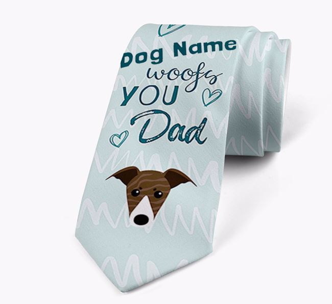 'Your Dog woofs you Dad' Neck Tie with Greyhound Icon