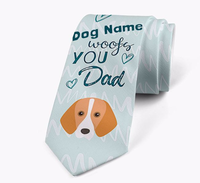 'Your Dog woofs you Dad' Neck Tie with Harrier Icon