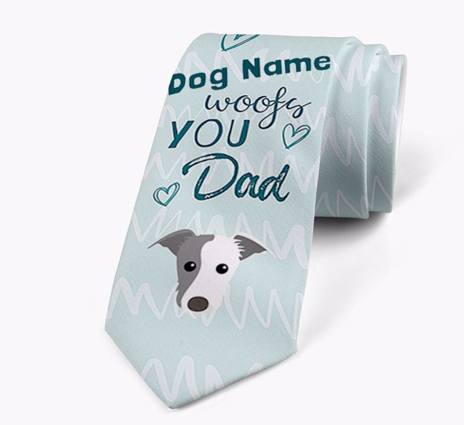 'Your Dog woofs you Dad' Neck Tie with Lurcher Icon