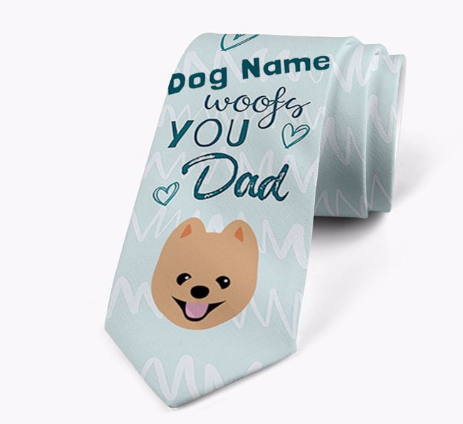 'Your Dog woofs you Dad' Neck Tie with Pomeranian Icon