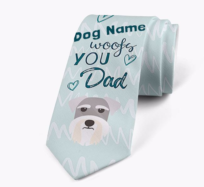 'Your Dog woofs you Dad' Neck Tie with Schnauzer Icon