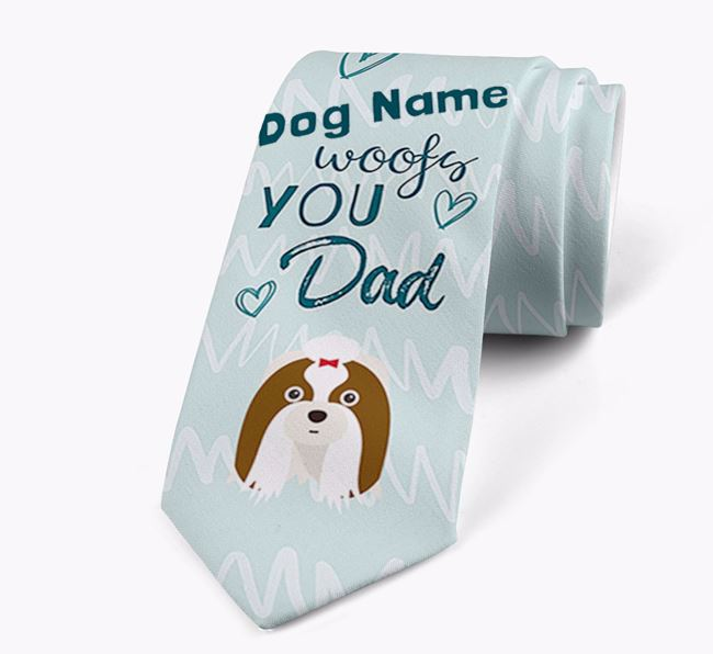 'Your Dog woofs you Dad' Neck Tie with Shih Tzu Icon