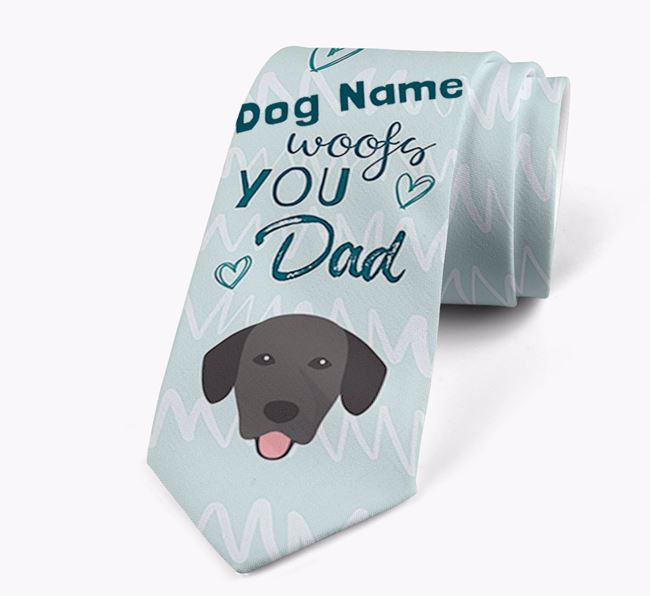 'Your Dog woofs you Dad' Neck Tie with Springador Icon