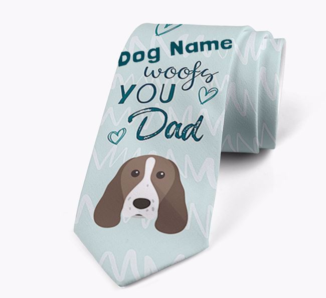 'Your Dog woofs you Dad' Neck Tie with Springer Spaniel Icon