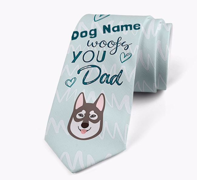 'Your Dog woofs you Dad' Neck Tie with Tamaskan Icon
