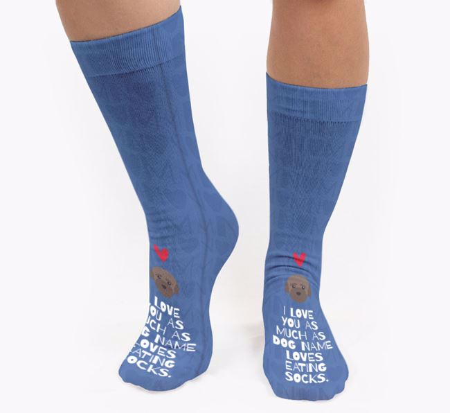 Personalised 'Loves Eating Socks' Socks with Bich-poo Icon
