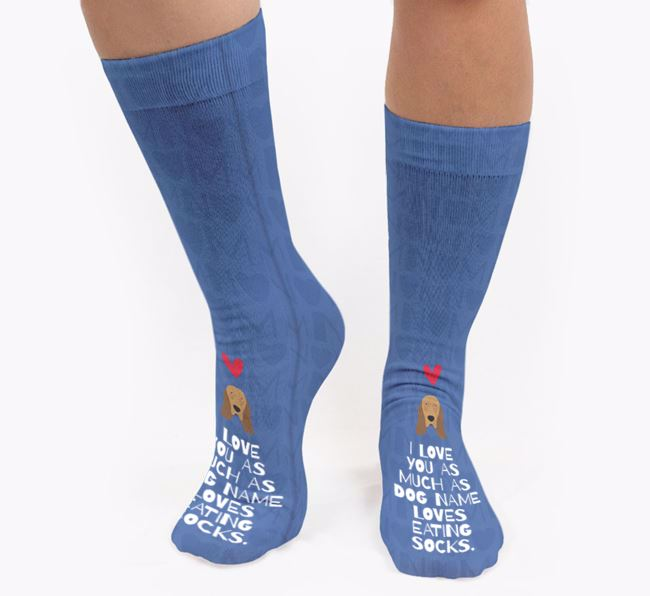 Personalised 'Loves Eating Socks' Socks with Bloodhound Icon