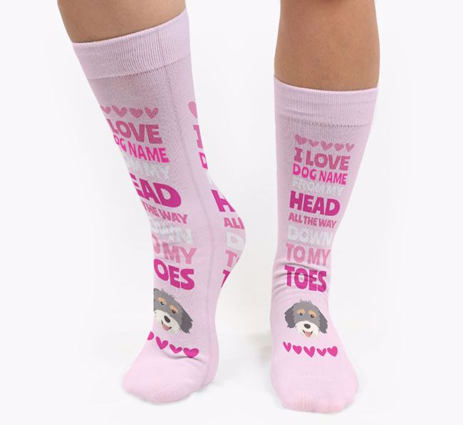 Personalised 'Head to Toes' Socks with Aussiedoodle Icon