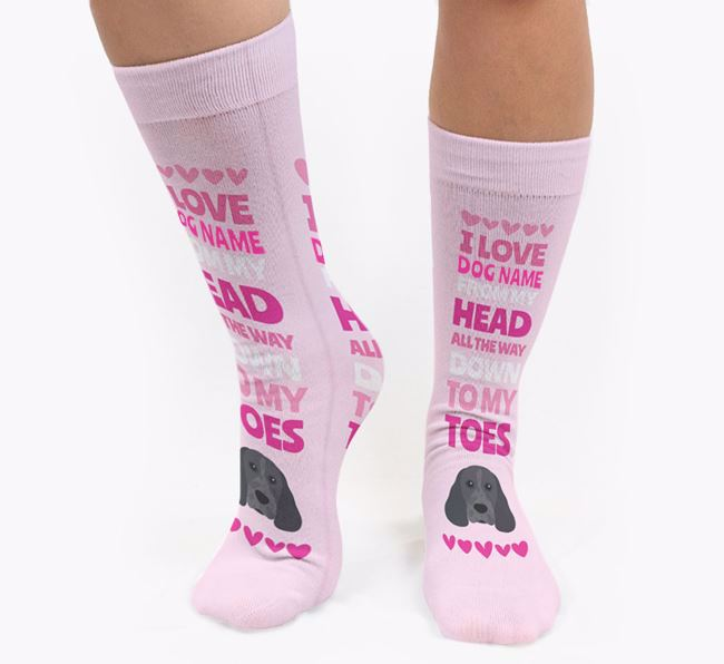Personalised 'Head to Toes' Socks with Cocker Spaniel Icon
