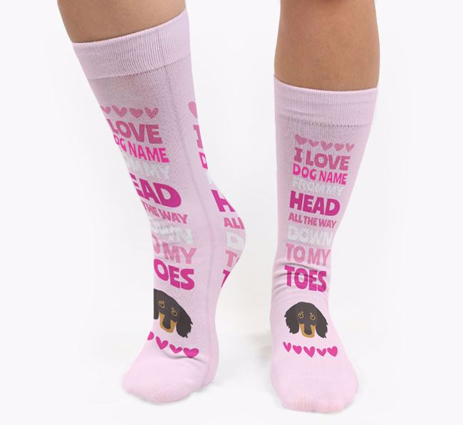 Personalised 'Head to Toes' Socks with Dachshund Icon
