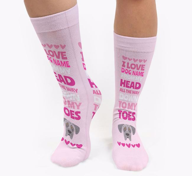 Personalised 'Head to Toes' Socks with Great Dane Icon
