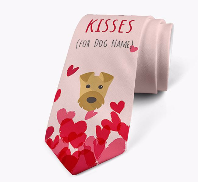 'Free Kisses for Your Dog' Neck Tie with Airedale Terrier Icon