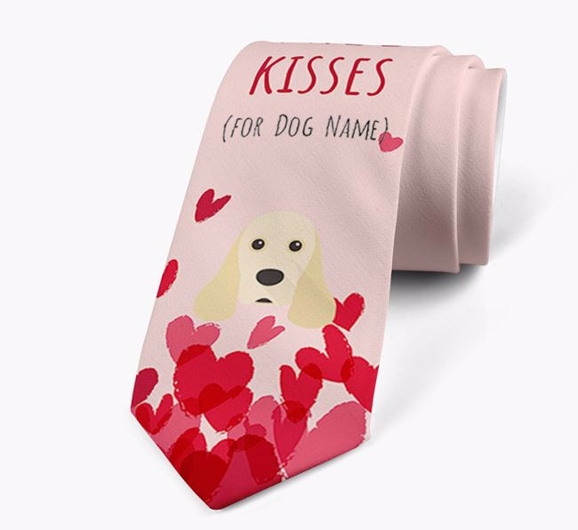 'Free Kisses for Your Dog' Neck Tie with American Cocker Spaniel Icon