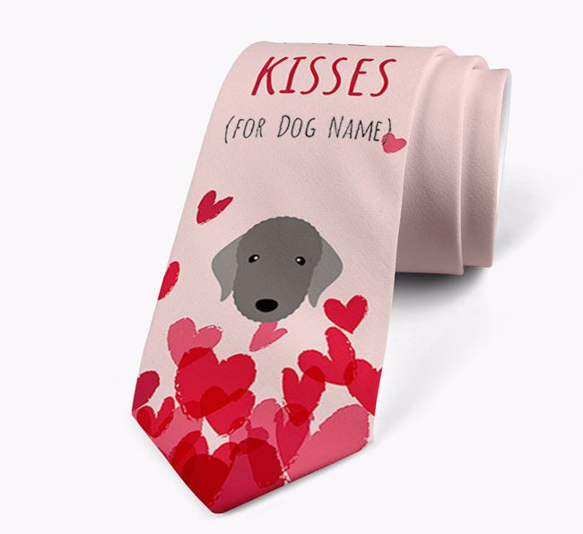 'Free Kisses for Your Dog' Neck Tie with Bedlington Terrier Icon