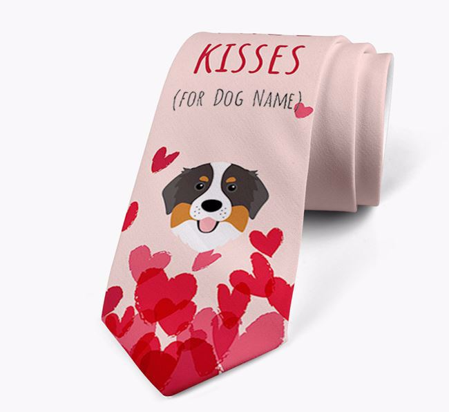 'Free Kisses for Your Dog' Neck Tie with Bernese Mountain Dog Icon