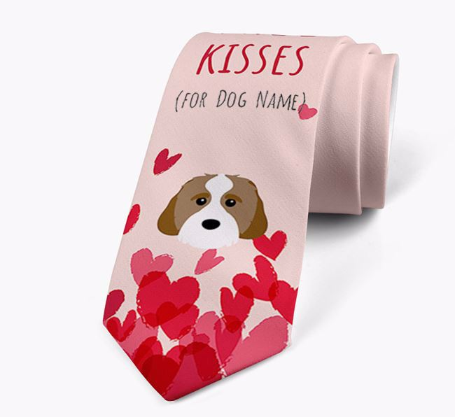 'Free Kisses for Your Dog' Neck Tie with Cavachon Icon