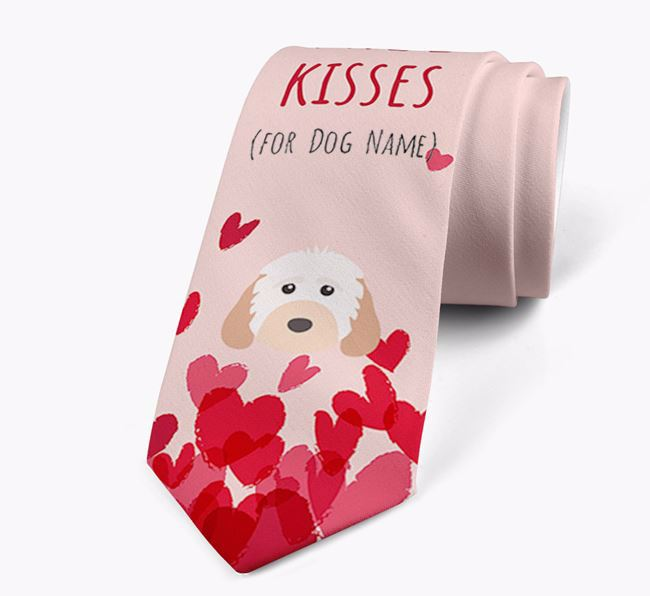 'Free Kisses for Your Dog' Neck Tie with Cockapoo Icon