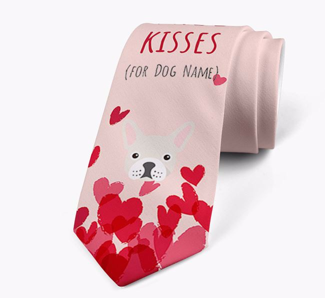 'Free Kisses for Your Dog' Neck Tie with French Bulldog Icon