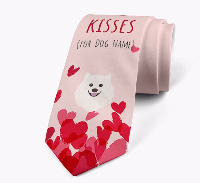 'Free Kisses for Your Dog' Neck Tie with Japanese Spitz Icon