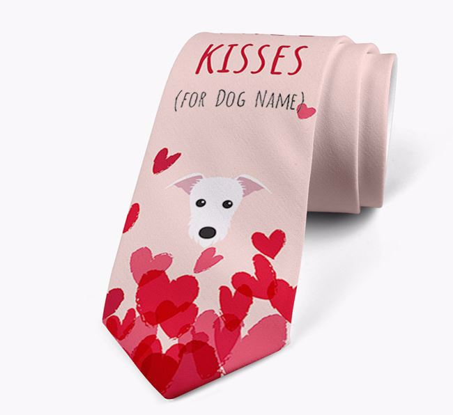 'Free Kisses for Your Dog' Neck Tie with Lurcher Icon