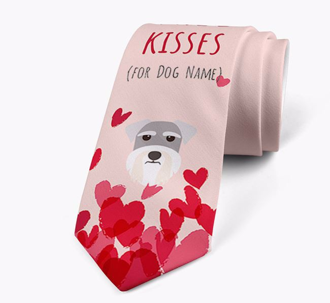 'Free Kisses for Your Dog' Neck Tie with Miniature Schnauzer Icon