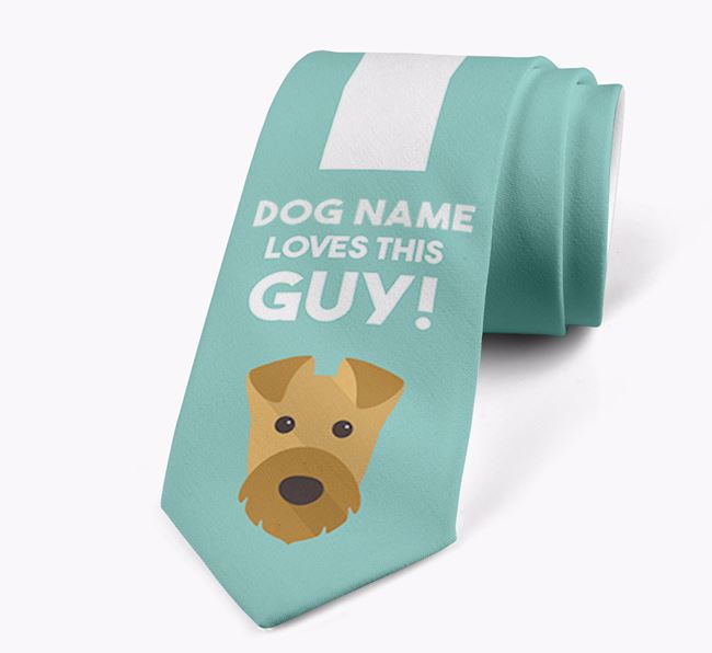'Your Dog loves this guy!' Neck Tie with Airedale Terrier Icon