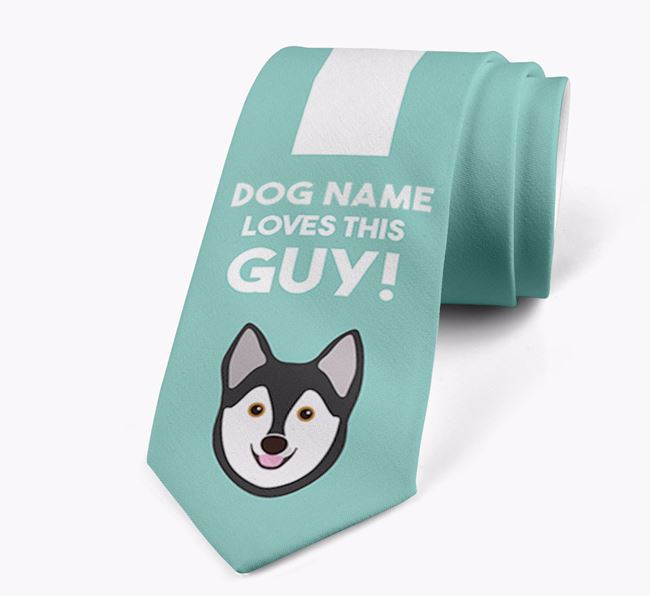 'Your Dog loves this guy!' Neck Tie with Alaskan Klee Kai Icon